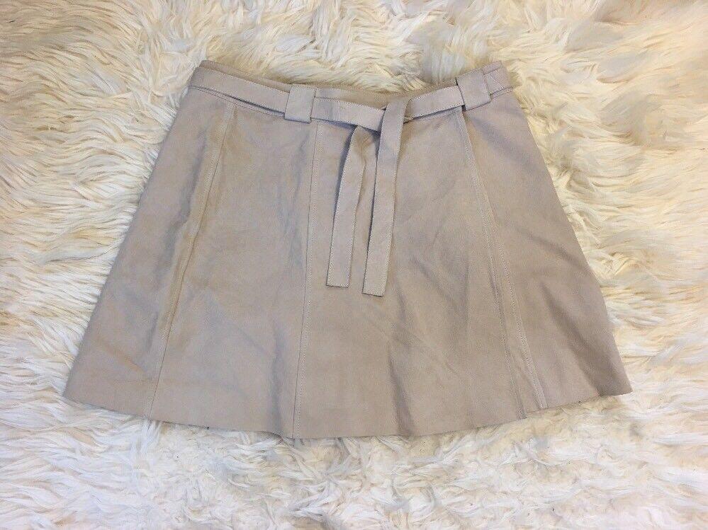 New Madewell Suede Wrap Skirt Dried Flax Sz 4 E7156