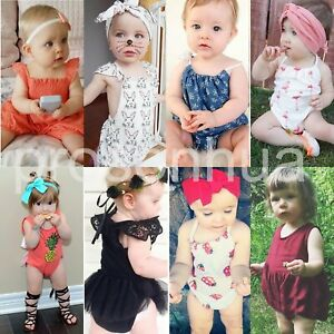 25cfbf907 Image is loading Newborn-Toddler-Baby-Girl-Romper-Jumpsuit-Bodysuit-Infant-