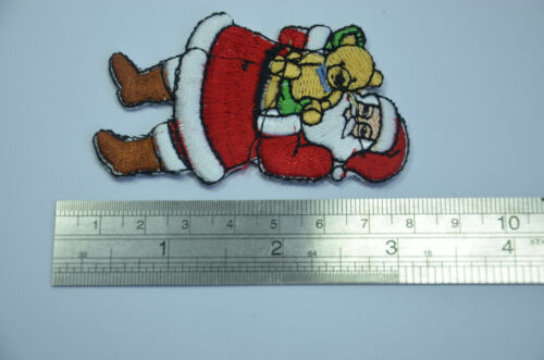 SANTA FATHER CHRISTMAS 8cm Embroidered Sew Iron On Cloth Patch Badge APPLIQUE