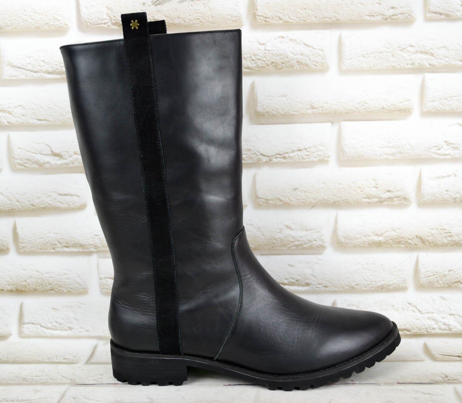 Flip Flop Córdoba para Mujeres Cuero Negro botas Mitad de la pantorrilla Tire de Talla 8 UK 42 EU