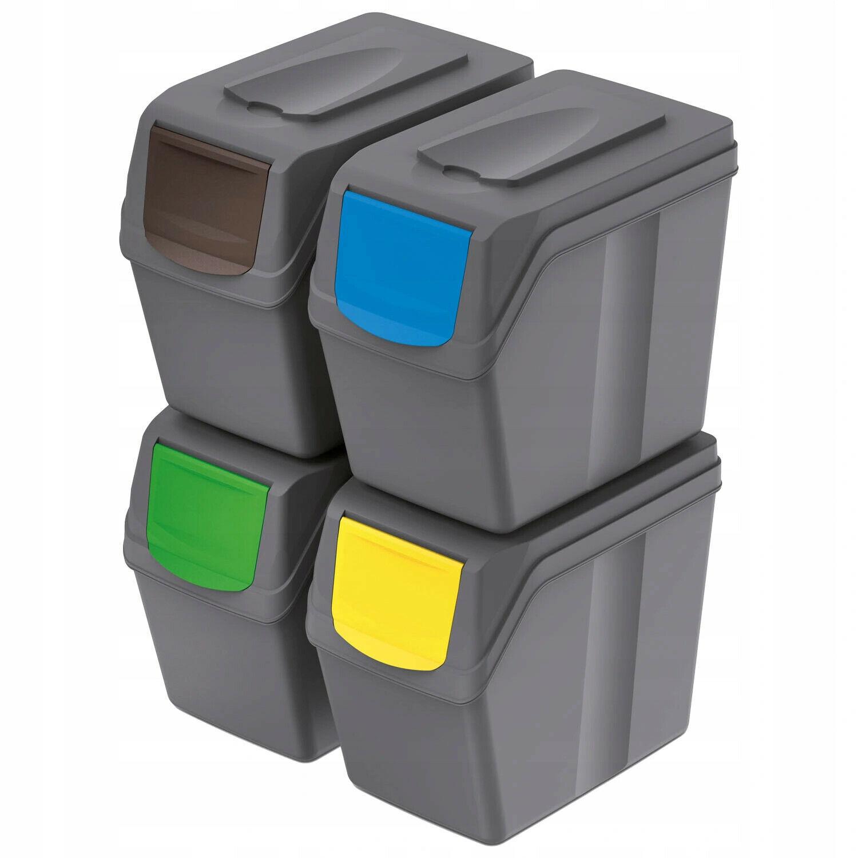 Cubos de Basura Segregación 4x20l Tapas de Colores Pegatinas Sistema Reciclaje