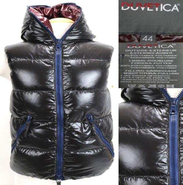 Duvetica Women's $450 Goose Down Vest Size Italy 44 US Medium Hooded Black