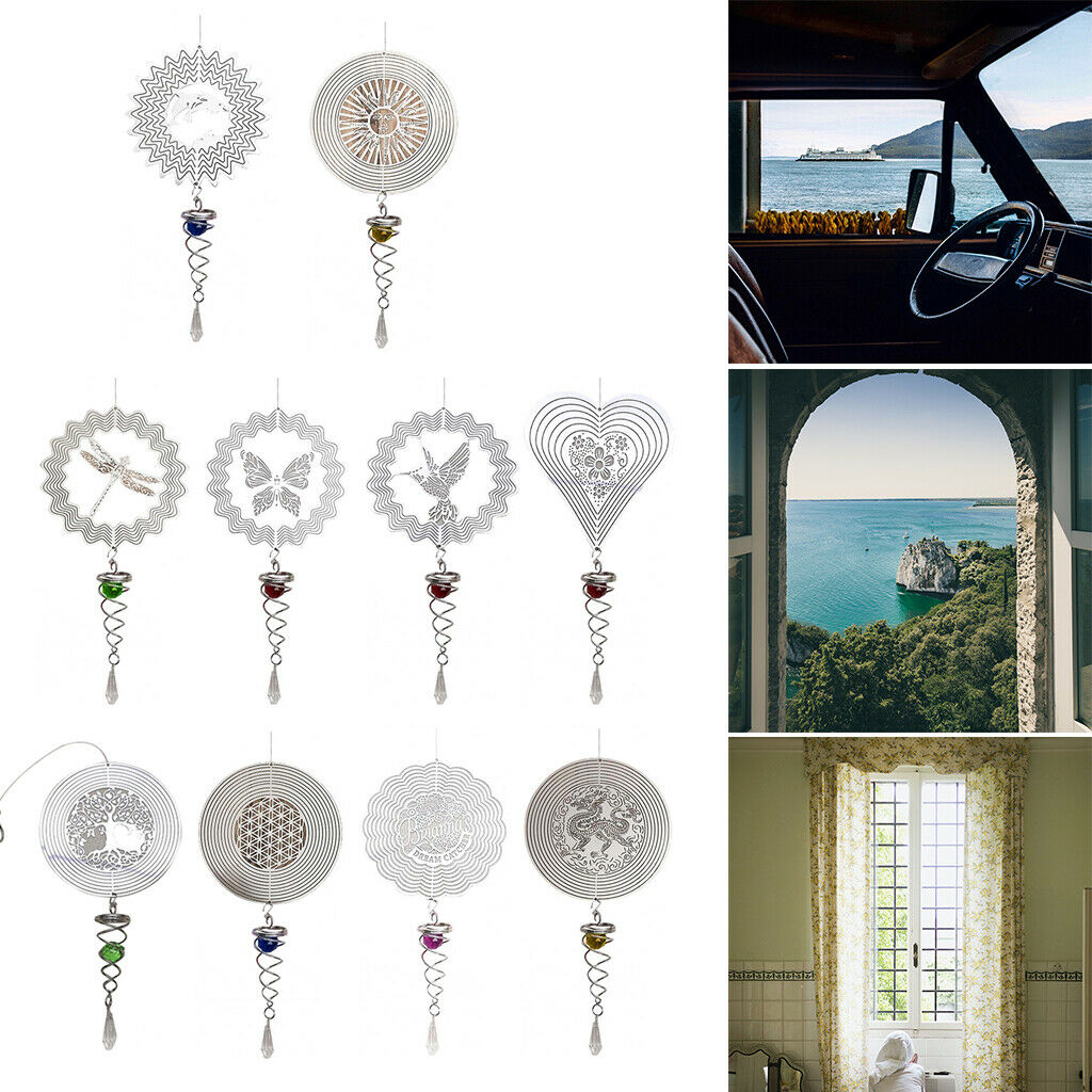 Outdoor Hanging Wind Spinner Rotating Wind Chime Garden Decor Crafts Gift