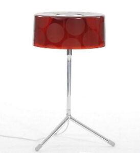 money tobias grau tischleuchte rot led designerleuchte alu pc glas ebay. Black Bedroom Furniture Sets. Home Design Ideas