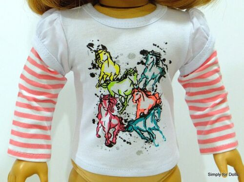 """PINK /& WHITE Horses LS Graphic DOLL T-SHIRT fits 18/"""" AMERICAN GIRL Doll Clothes"""