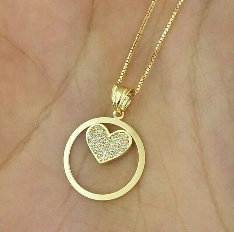 0.10 CT 14K Yellow gold Circle Round Heart Pendant Charm