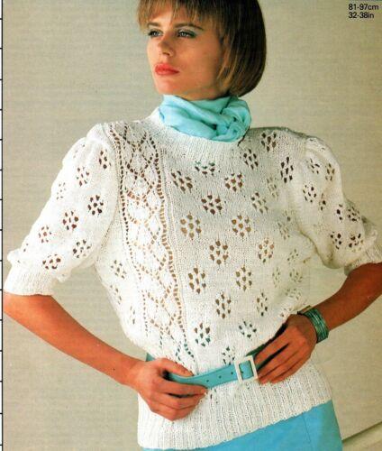 """343 Ladies DK Lacy Top 32-38/"""" 81-97cm Vintage Knitting Pattern"""