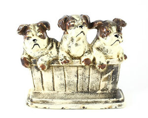 C 1900 Cold Painted Cast Iron Three Bull Terrier Dogs In Basket Door Stopper Ebay