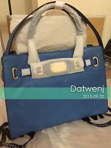 NWT-Michael-Kors-Hamilton-Heritge-Blue-Leather-LG-Large-East-West-Shoulder-Bag