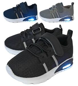 New-Baby-Mesh-Sneakers-Light-Up-Shoes-Black-Navy-Grey-Infant-Toddler-Size-2-to-9