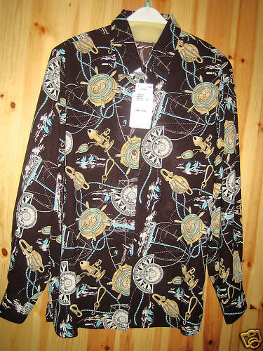 long sleeves collared Oscar B printed blouse sizes 16,18,20