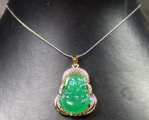 286623 US Gold Plate Green JADE Pendant Buddha Necklace Diamond Imitation