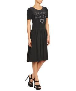 c38d5522b4 NWT $470 LOVE MOSCHINO SILK BLEND BLACK SLOGAN EMBROIDERED DRESS US ...