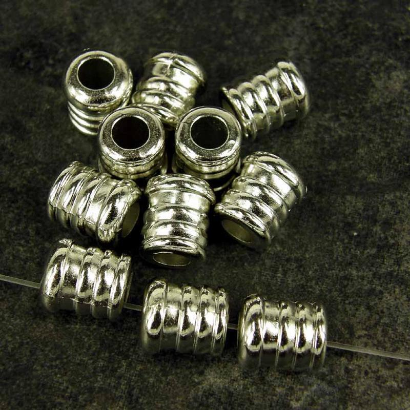 50 x CCB Plastic Silver Spacer Beads Large Hole 11x10mm  Ribbed Finish NP30