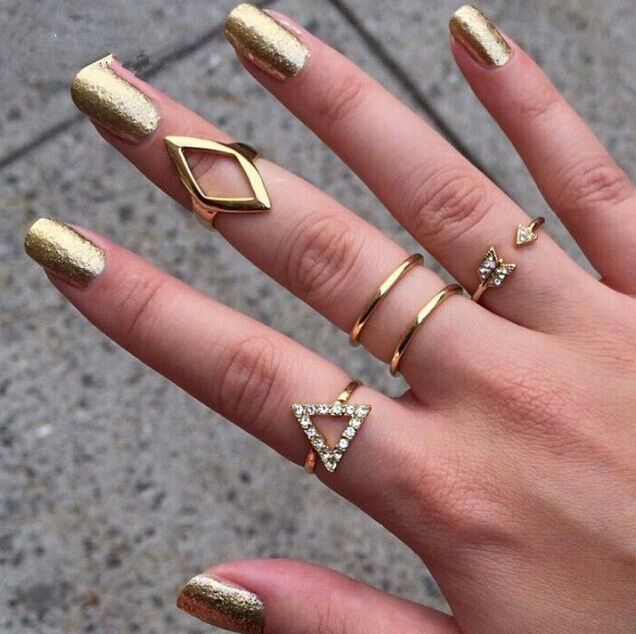 Knuckle Mid Midi Above Ring Band Gold Silver Tip Finger Stacking Gift Celebrity