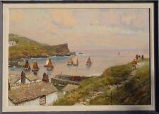 Claus Bergen Polperro Cornwall Hafen Klippe Segel-Boot Schiff Nordsee England
