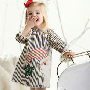 7232d55c048 Details about Toddler Kids Girls Christmas Santa Striped Princess Dress  Outfits Clothes 1-5T