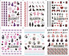 11 Sheet Water Decals Alice In Wonderland Nail Art Sticker Decal *BLE2072-2082*