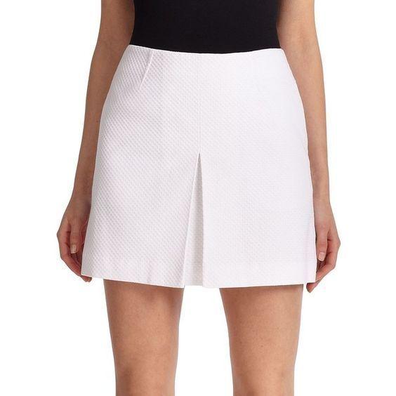 NWT  195 Tory Burch Cotton Pique Pleed Mini kjol vit [SZ 10]