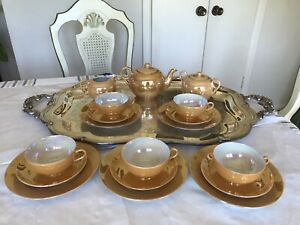 Antique-Japanese-ORANGE-Lustre-Iridescent-Tea-Set-18-Pieces