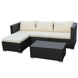 Rattan lounge schwarz  Poly-Rattan Lounge QUEENS Sofa Gartenset Garnitur Polyrattan ...