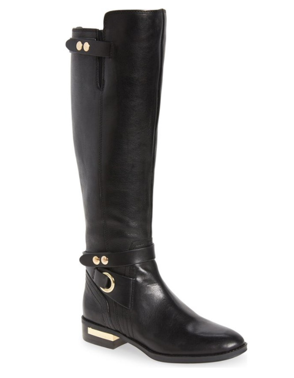 Vince Camuto Women's Prini Knee High Ankle Strap Black Boot 7864 Size 6 M