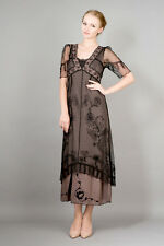 NEW NWT Nataya Plus Size Vintage Titanic Tea Party Black/Coco Dress Slip Set 1X