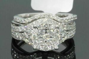 Round-Cut-Diamond-3-00Ct-Engagement-Wedding-Ring-Set-14k-White-Gold-Finish