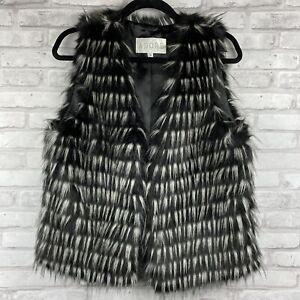 Adore-Womens-Vest-Faux-Fur-Black-White-Size-Large-Lined-Soft