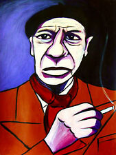 PORTRAIT OF PABLO PICASSO PRINT poster FRO-ART spanish cigarette smoking beret