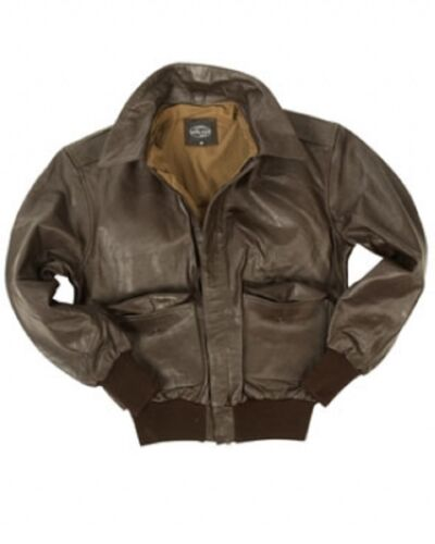 US A2 Leather Jacket Army Pilot Flight Jacket Leather Jacket Brown Brown M