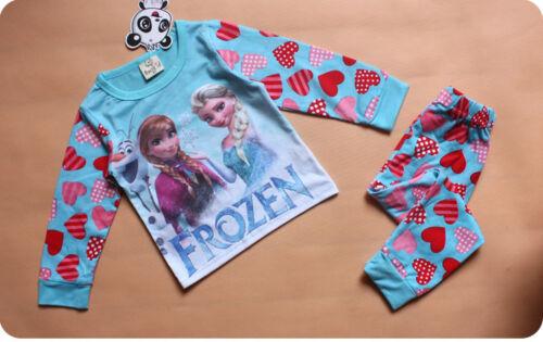 Frozen Pigiama Set Blu Elsa Anna Olaf Manica Lunga Stock UK Ragazze di Pj