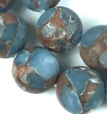 12mm Frost Matte Aquamarine in Quartz with Pyrite / Gold Vein Round Beads (16)