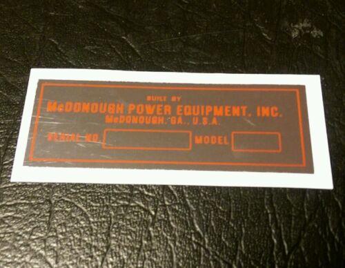 Snapper mowers Serial No decal 1979 and back McDonough GA