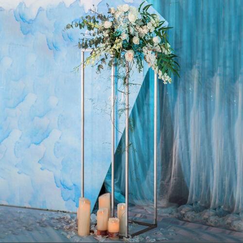 Metal Rectangle Flowers Stand Tealight Holder Pedestal Table Centrepiece Wedding