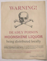 Moonshine Warning Poster, Red, Moonshiner, Bootleg, Bootlegger, Wanted