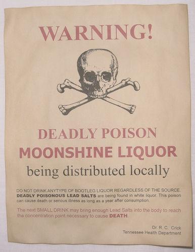 moonshiner Moonshine Warning Poster v2 bootleg bootlegger wanted