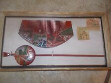 Antique Japanese Hair Comb & Pin in box with tags Cherry Blossoms SEE DETAILS