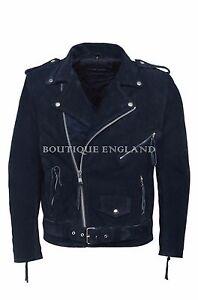 marino azul de Biker Brando clásico chaqueta azul gamuza los de hombres estilo Mbf cuero de a5wnqTRx