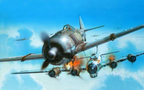 WW2 German Luftwaffe Focke-Wolf 190 and US Boeing B-17  Bomber Plane Picture