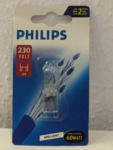 Philips Brilliant Halogen Halogenlampe 60Watt 600lumen G9 230V Stiftsockel EEK F