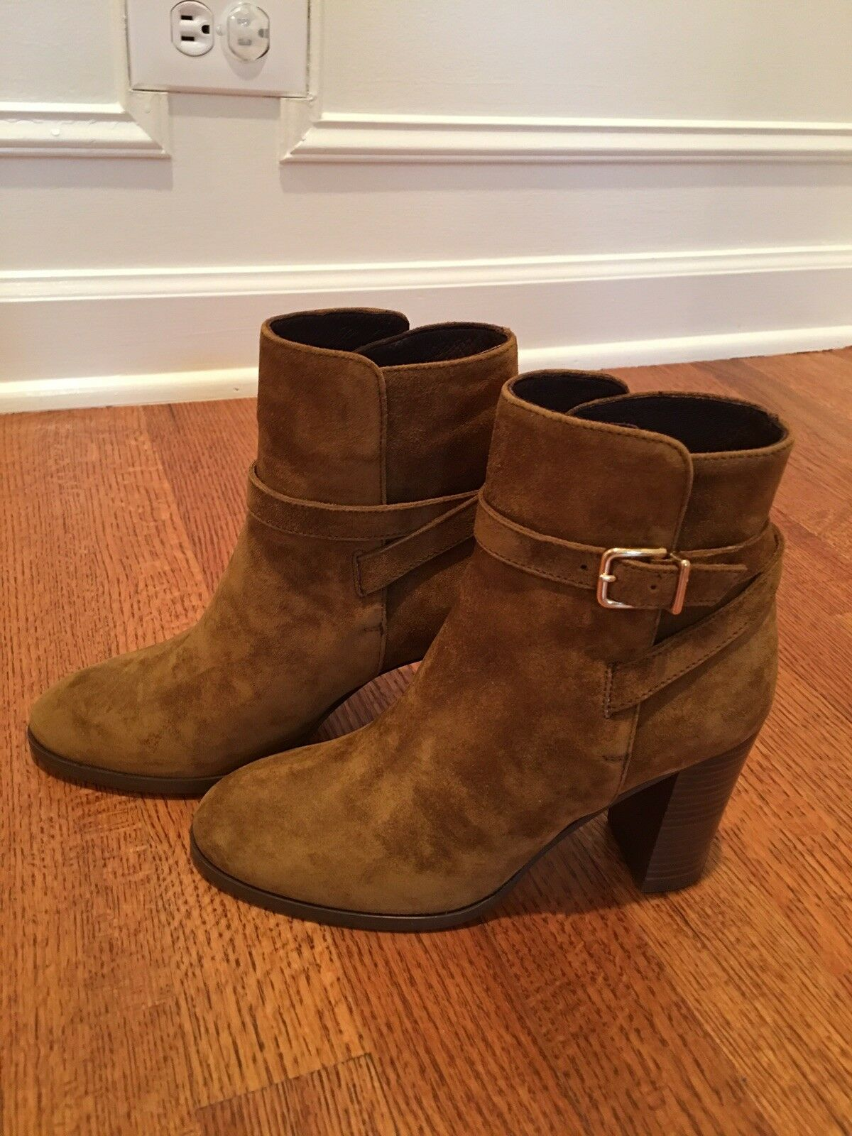 JCrew Suede  Wravor Buckle Ankle stivali, 6, Vintage Amber, F8008, Fall 2015  all'ingrosso a buon mercato