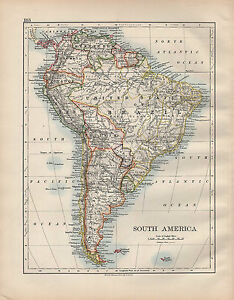 Details about 1902 MAP ~ SOUTH AMERICA ~ UNITED STATES OF BRAZIL ARGENTINA  CHILE PERU