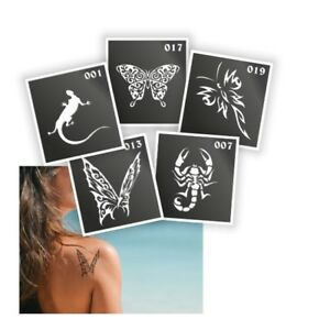 5-Pieces-Henna-Tattoo-Stencil-Air-Brushing-or-Glitter-Tattoos