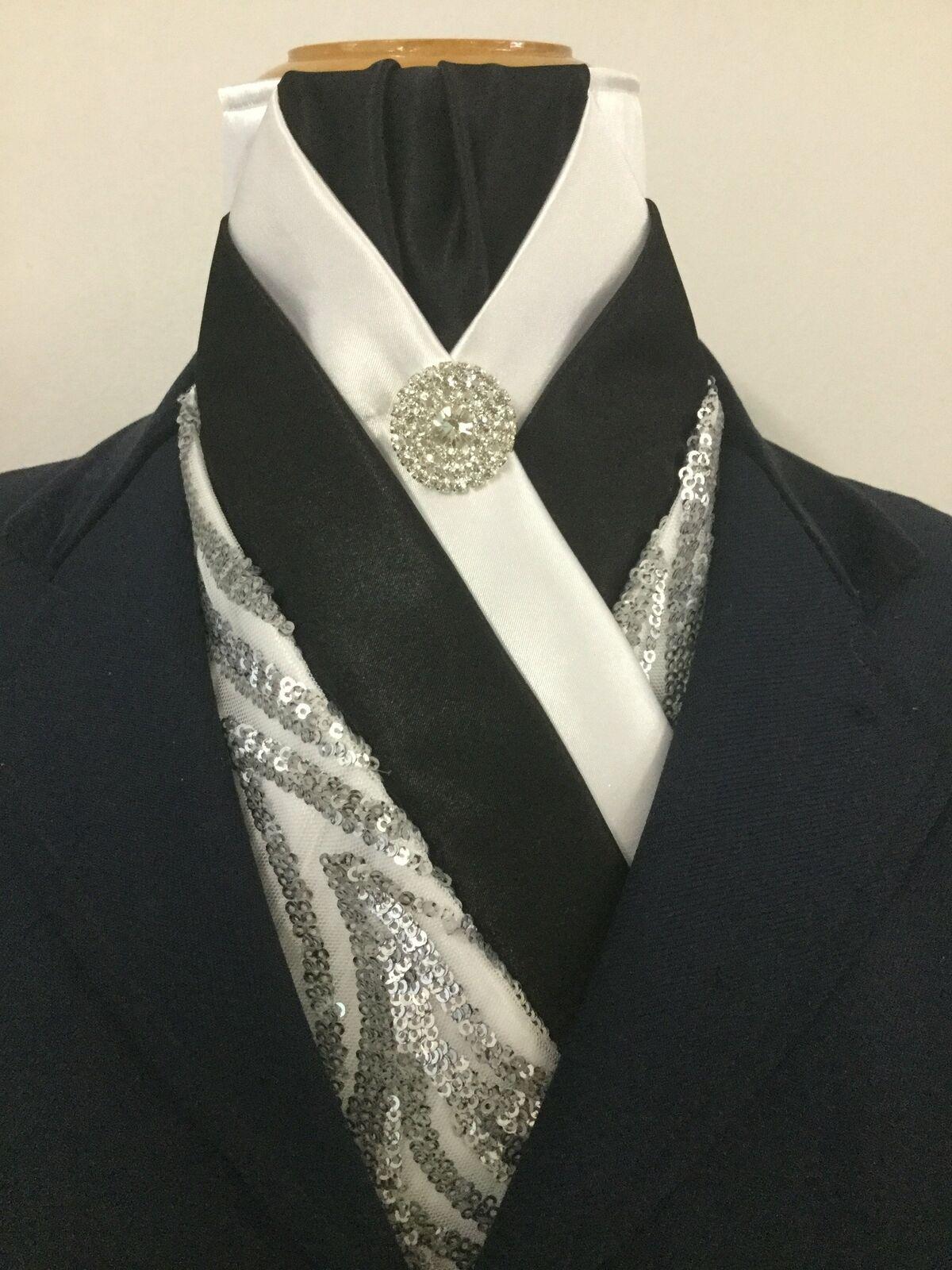 Enfermedad Cochedíaca hipertensiva   Bella  blancoo y Negro Satinado Corbata de lazo Corbata con Lentejuelas Metálica en Stock  diseño único