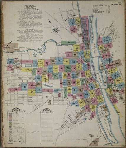 New York~Sanborn Map©~sheet 67 ~1892~enhanced by seller in color NY Albney