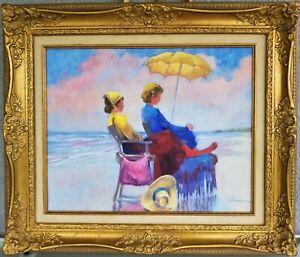 Signed-Oil-Painting-Women-Beach-Scene-on-Canvas-Schumacher-23-5-X-27-5-Ladies