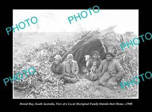 OLD POSTCARD SIZE PHOTO DENIAL BAY SOUTH AUSTRALIA ABORIGINAL FAMILY c1906