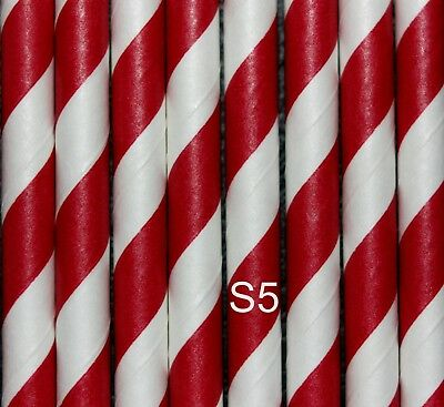 Energico 25 Rosso E Bianco Inghilterra Calcio/candy Cane Design Cannucce, Biodegradabili-