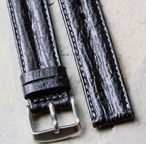 Shark-grain-waterproof-leather-18mm-padded-stitched-vintage-watch-strap-1960s-70